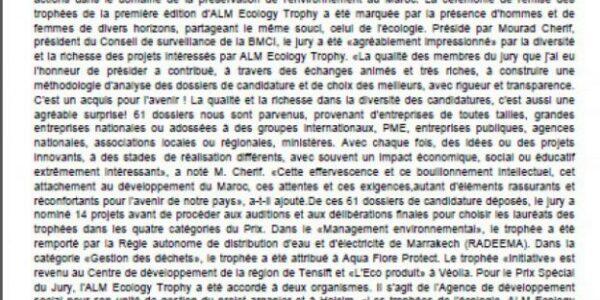 Le CDRT célèbre son prix ALM Trophy Ecology 2009-cdrt